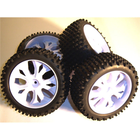 BS937-001/2 1/10 Scale RC Buggy Off Road Wheels and Tyres x 4 WHITE