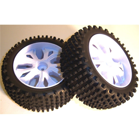 BS937-001 1/10 RC Buggy Off Road Wheels and Tyres FRONT WHITE