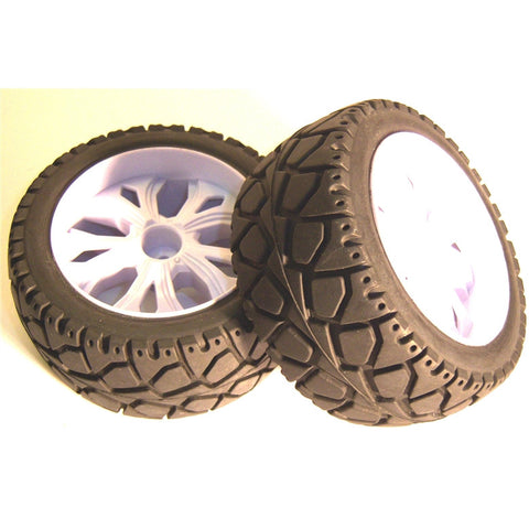 BS937-002 1/10 RC Buggy Street Wheel Tyre 2 Rear White