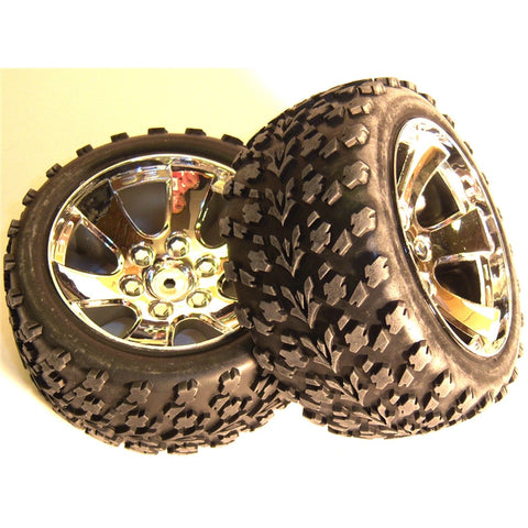 BS903-002 1/10 Scale Off Road Buggy Wheels and Tyres 2 Chrome Painted
