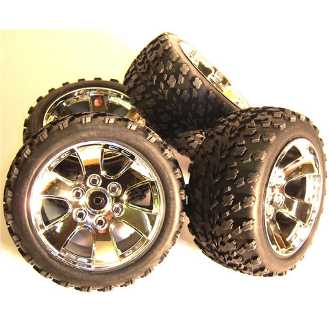 BS903-002 1/10 Scale Off Road Buggy Wheels and Tyres 4 Chrome Painted
