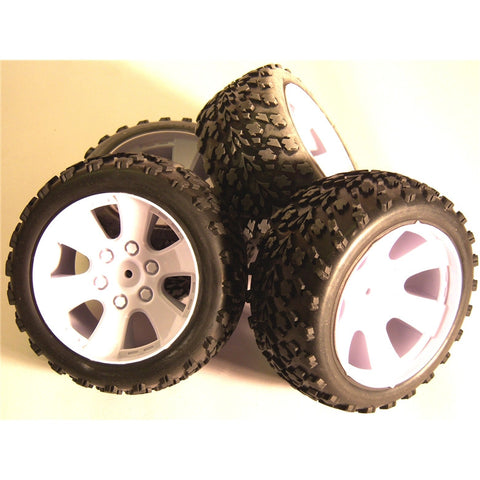 BS903-001 1/10 Scale Off Road Buggy Wheels and Tyres 4 White