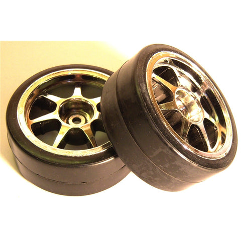 247004 1/10 Scale Drift On Road Car Wheels and Tyres 2 Chrome
