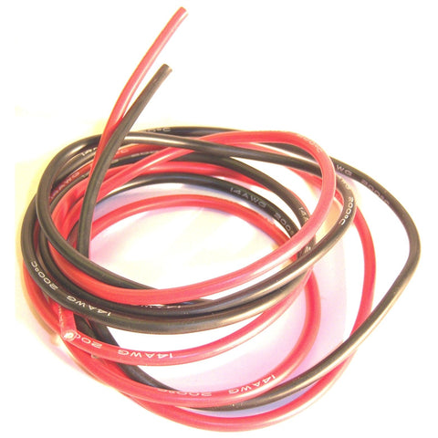 14AWG 14 AWG Silicone Wire 50cm 500mm Red Black & Red