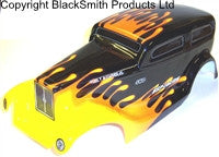 88046 RC 1/10 Scale Monster Truck Body Shell Cover HSP Black Flame Cut V5 Narrow