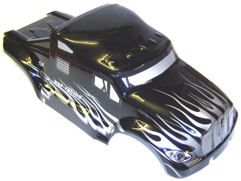 88035 RC 1/10 Scale Monster Truck Body Shell Cover HSP Black V5 Cut Narrow