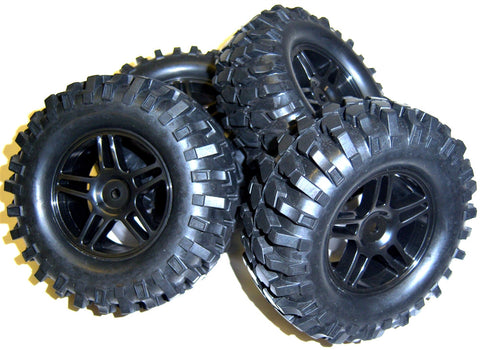 A210010 1/10 Scale Off Road Monster Truck RC Wheels and Tyres Black 5 Spoke 93mm