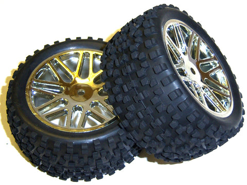 A67057 1/10 Scale Off Road Rear Buggy RC Wheels and Block Tyres 16 Spoke Silver
