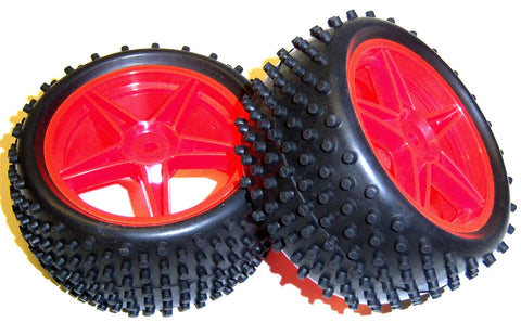 06026 1/10 Scale Off Road RC Buggy Rear Wheels and Tyres x2 Red 5 Spoke HSP