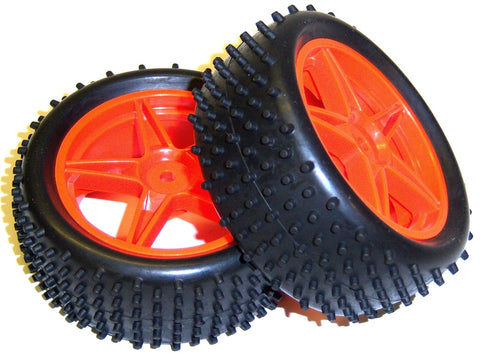 06010 1/10 Scale Off Road RC Buggy Front Wheels and Tyres x2 Red 5 Spoke HSP