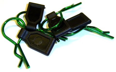SGF-2G 1/10 1/8 Scale Medium Size RC Green Body Clips R Pins x 4 with Grips
