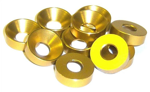 L1455 M5 5mm Countersunk Washer Alloy Aluminium Yellow x 10