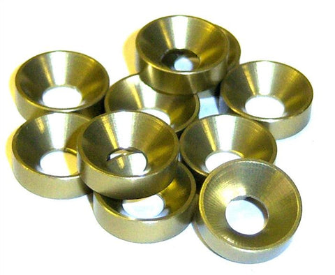 L1432 M3 3mm Countersunk Washer Alloy Aluminium Smoked Chrome / Light Brown x 10