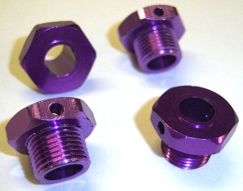 1/8 17mm Drive Wheel Hex Hub Nut Aluminium Purple x 4