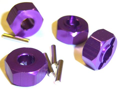 1/10 Scale 12mm Drive Wheel Hex Hub Nut Aluminium Purple x 4