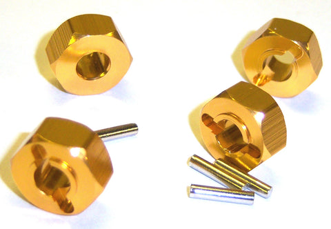 1/10 Scale 12mm Drive Wheel Hex Hub Nut Aluminium Yellow x 4