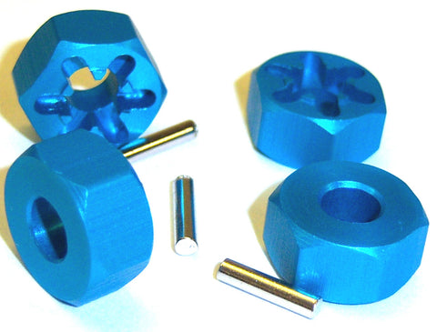 1/10 Scale 12mm Drive Wheel Hex Hub Nut Aluminium Blue x 4