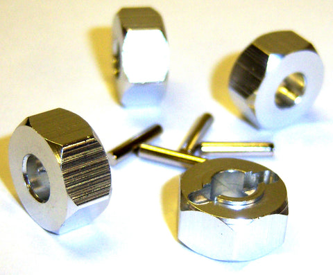 1/10 Scale 12mm Drive Wheel Hex Hub Nut Aluminium Silver x 4