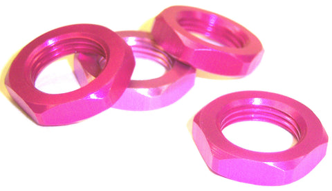 1/8 Scale 17mm Drive Wheel Hex Hub Nut Aluminium Pink x 4