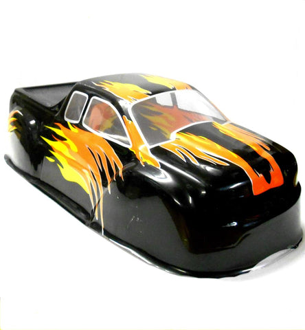 08035 10325 RC 1/10 Scale Monster Truck Body Shell Cover HSP Black Flame Uncut