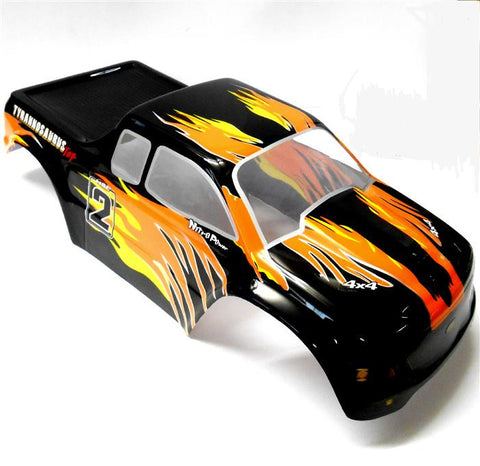 08035 10325 RC 1/10 Scale Monster Truck Body Shell Cover HSP Black Flame Cut