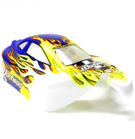 06027 10720 Off Road Nitro RC 1/10 Scale Buggy Body Shell Blue Flame Cut