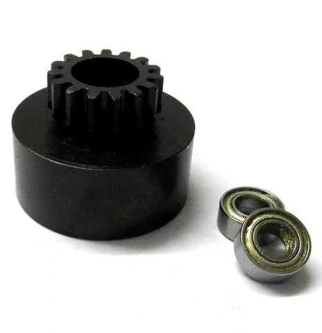 1/10 1/8 Scale .18 + Engine Clutch Bell Housing 15 Tooth Teeth 15T + 2 Bearings