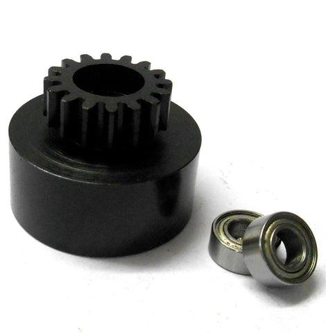 1/10 1/8 Scale .18 + Engine Clutch Bell Housing 16 Tooth Teeth 16T + 2 Bearings