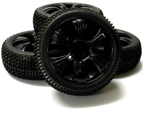180021 1/8 Scale Off Road Buggy RC Wheels and Block Tread Tyres 6 Spoke Black 4