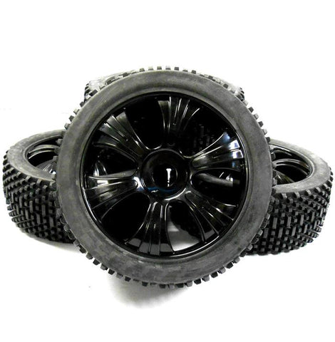 180022 1/8 Scale Off Road Buggy RC Wheels and Block Tread Tyres 6 Spoke Black V3