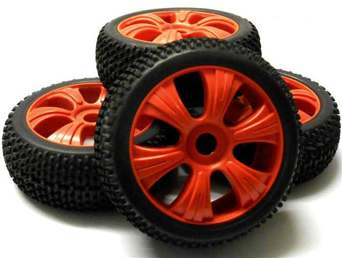 180025 1/8 Scale Off Road Buggy RC Wheels and Block Tread Tyres 6 Spoke Red 4