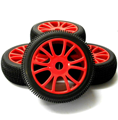 180045 1/8 Scale Off Road Buggy RC Wheels and Block Tread Tyres Dual Spoke Red