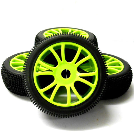 180053 1/8 Scale Off Road Buggy RC Wheels Block Tread Tyres Dual Spoke Green 4