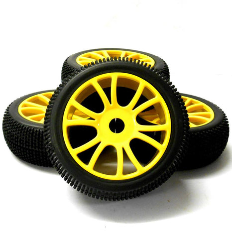 180057 1/8 Scale Off Road Buggy RC Wheels Block Tread Tyres Dual Spoke Yellow 4
