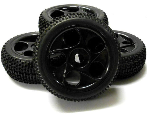 180061 1/8 Scale Off Road Buggy RC Wheels and Tyres '5 Holes' Black x 4