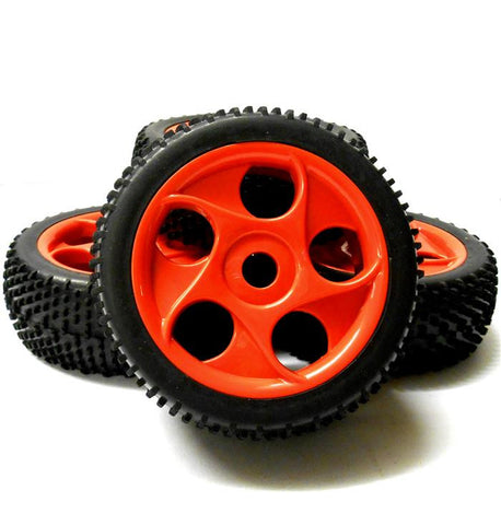 180065x4 1/8 Scale Off Road Buggy RC Wheels and Block Tread Tyres Star Red 4