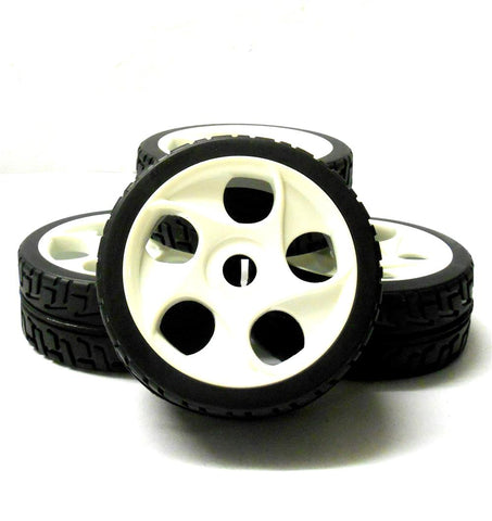 180071V2 1/8 Scale Buggy RC Wheels and On Road Tread Tyres 5 Holes White x 4
