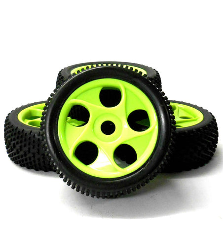 180073 1/8 Scale Off Road RC 10 Spoke Wheels and Tyres Green x 4