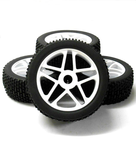 180086 1/8 Scale Off Road Buggy RC Star Wheels and Tyres White x 4