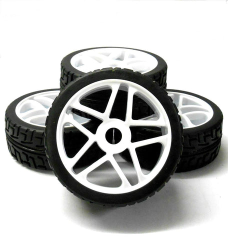 180087 1/8 Scale On Road Buggy RC Star Wheels and Tyres White x 4