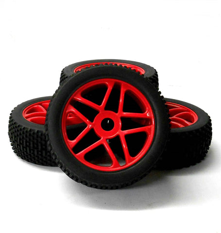 180090 1/8 Scale Off Road RC 10 Spoke Wheels and Tyres Red Star x 4