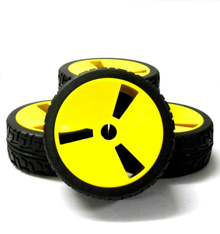 180091 1/8 Scale On Road Buggy RC Wheels and Tyres Disc Yellow x 4