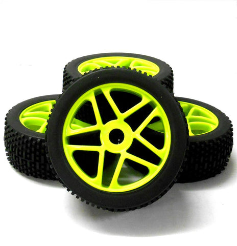 180094 1/8 Scale Off Road Buggy RC Star Wheels and Tyres Light Green x 4