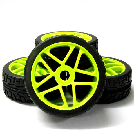 180095 1/8 Scale On Road Buggy RC Star Wheels and Tyres Light Green x 4