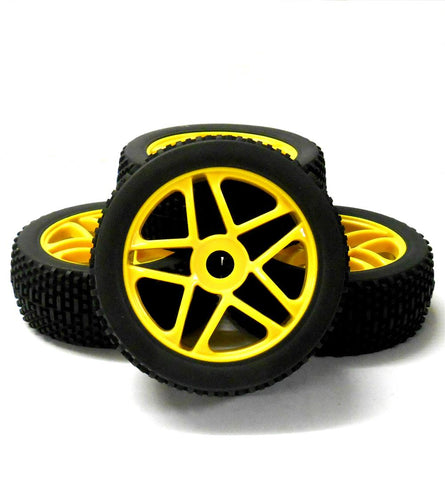 180098 1/8 Scale Off Road Buggy RC Star Wheels and Tyres Yellow x 4