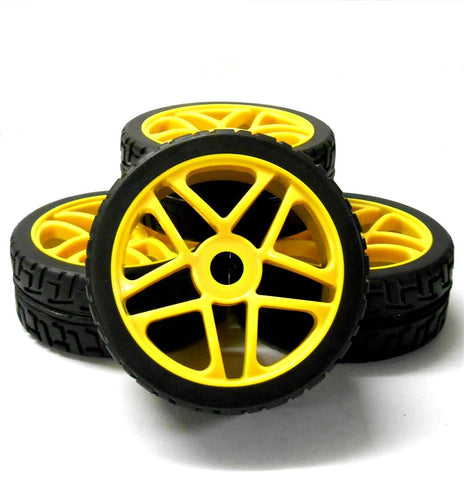 180099 1/8 Scale On Road Buggy RC Star Wheels and Tyres Yellow x 4