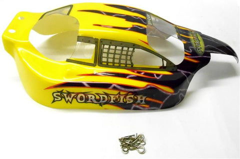 350130 1/10 Scale RC Nitro Buggy Body Cover Shell Yellow Winner Sport Smartech