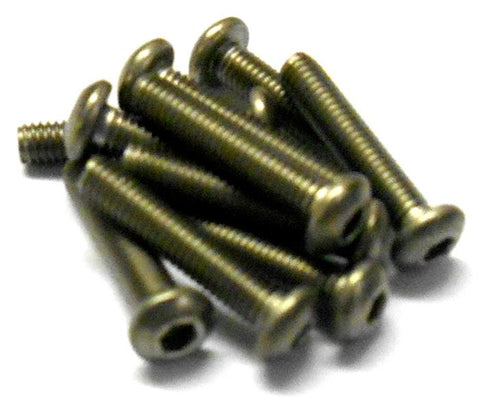 57615P 3mm x 15mm Titanium Button Head Hex Screws x 10