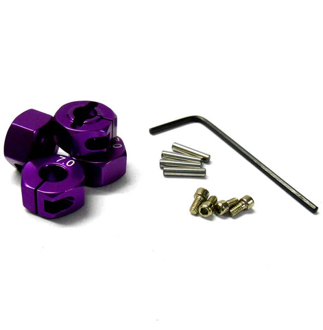 57807P 1/10 Scale RC M12 12mm Alloy Wheel Locking Hubs Adapter Nut Purple 7mm