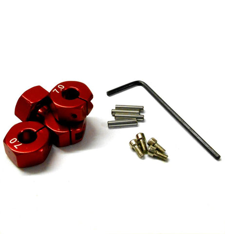 57807R 1/10 Scale RC M12 12mm Alloy Wheel Locking Hubs Adapter Nut Red 7mm